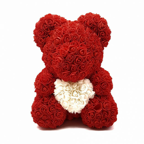 Мишка из роз c сердцем 40см UFT Bear Flowers UFT B2 Red